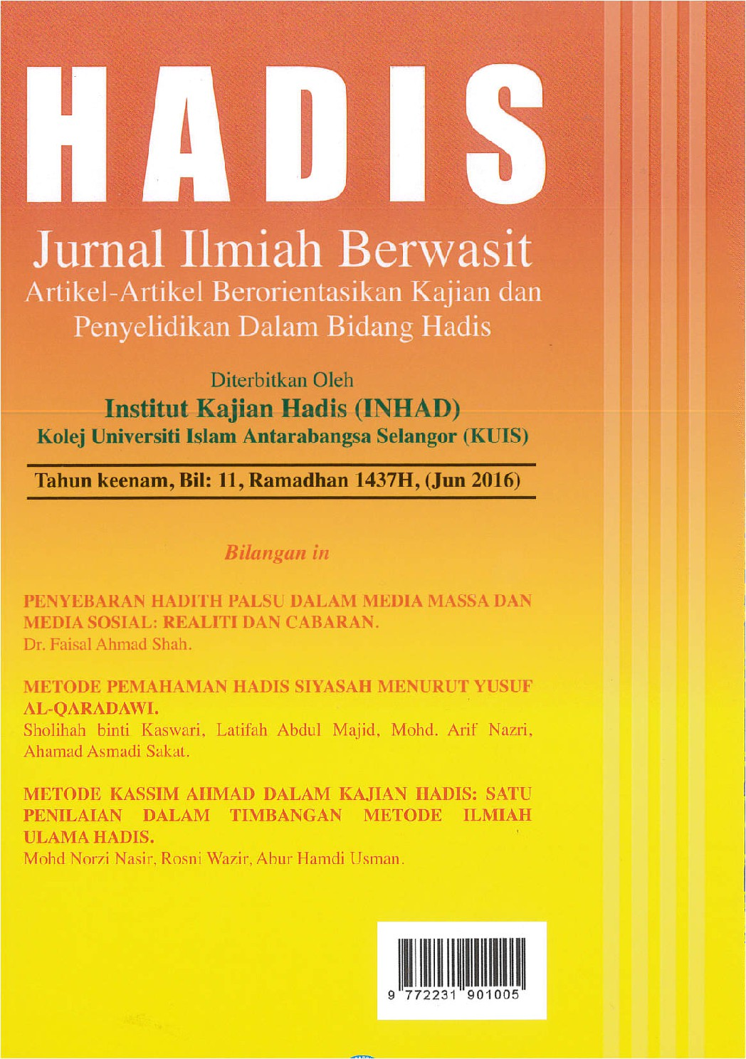 Cover of Jurnal Hadis, Bil 11